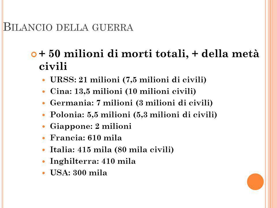 B ILANCIO DELLA GUERRA + 50 milioni di morti totali, + della metà civili URSS: 21 milioni (7,5 milioni di civili) Cina: 13,5 milioni (10 milioni civil
