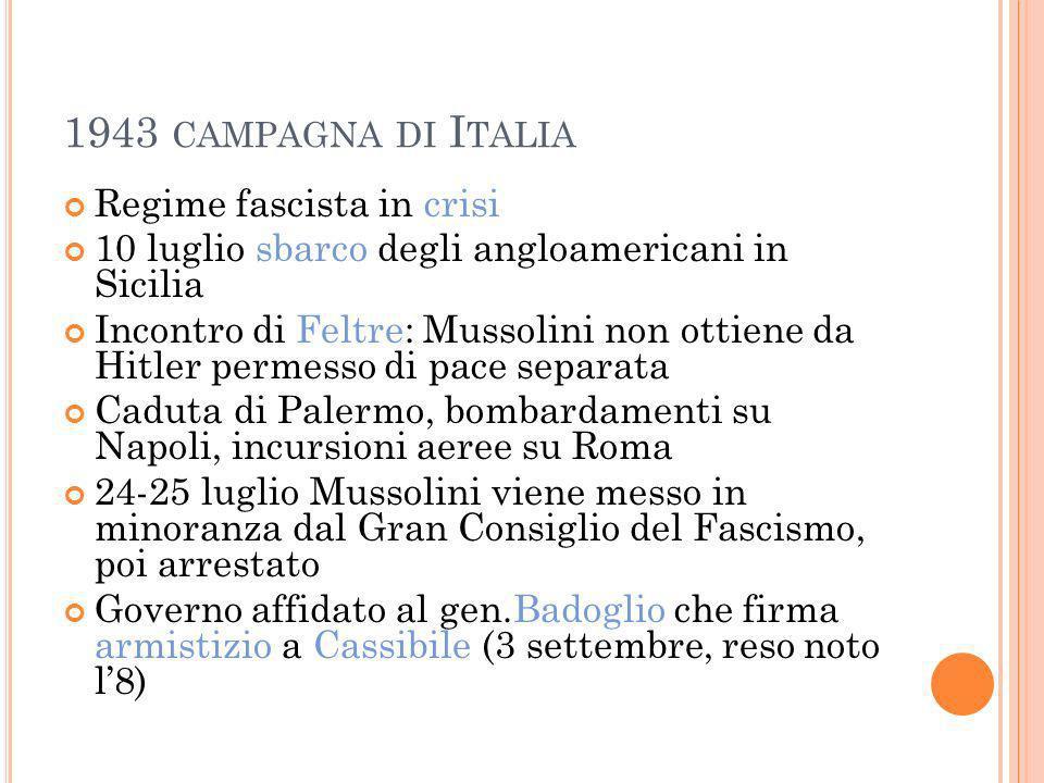 1943 CAMPAGNA DI I TALIA Regime fascista in crisi 10 luglio sbarco degli angloamericani in Sicilia Incontro di Feltre: Mussolini non ottiene da Hitler