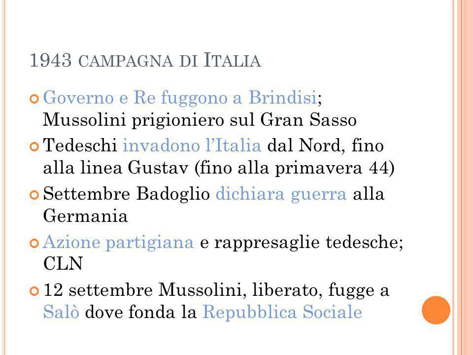 1943 CAMPAGNA DI I TALIA Governo e Re fuggono a Brindisi; Mussolini prigioniero sul Gran Sasso Tedeschi invadono lItalia dal Nord, fino alla linea Gus