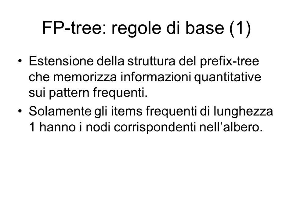 FP-tree: regole di base (1) Estensione della struttura del prefix-tree che memorizza informazioni quantitative sui pattern frequenti.