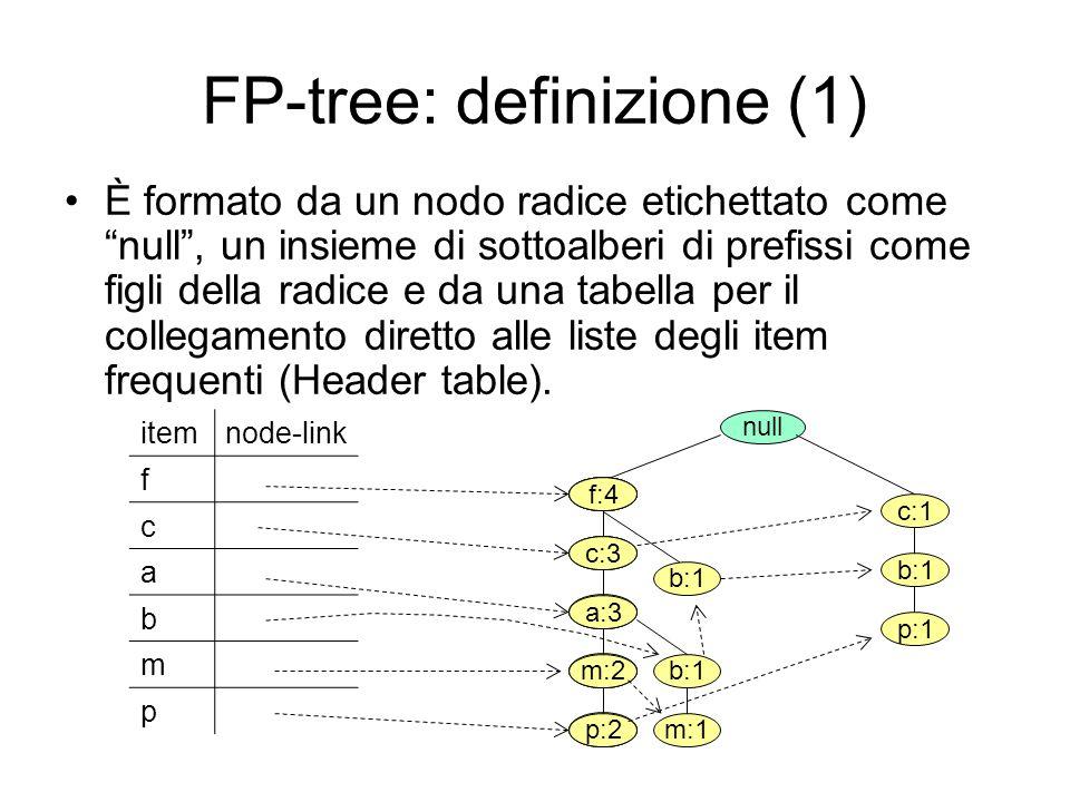 FP-tree: definizione (1) È formato da un nodo radice etichettato come null, un insieme di sottoalberi di prefissi come figli della radice e da una tabella per il collegamento diretto alle liste degli item frequenti (Header table).