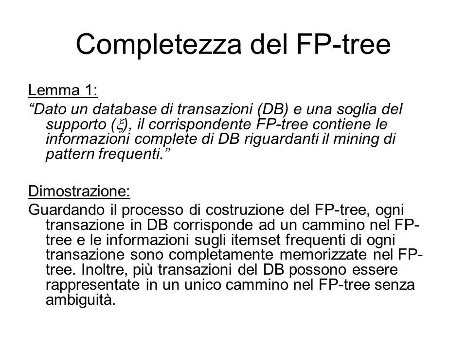 Completezza del FP-tree Lemma 1: Dato un database di transazioni (DB) e una soglia del supporto ( ), il corrispondente FP-tree contiene le informazioni complete di DB riguardanti il mining di pattern frequenti.