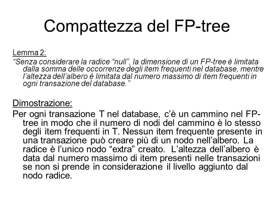 Compattezza del FP-tree Lemma 2: Senza considerare la radice null, la dimensione di un FP-tree è limitata dalla somma delle occorrenze degli item frequenti nel database, mentre laltezza dellalbero è limitata dal numero massimo di item frequenti in ogni transazione del database.