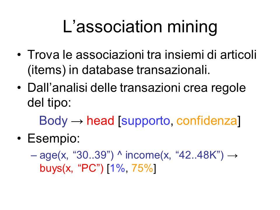 Lassociation mining Trova le associazioni tra insiemi di articoli (items) in database transazionali.