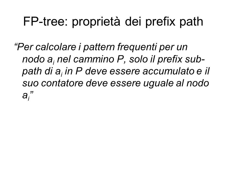 FP-tree: proprietà dei prefix path Per calcolare i pattern frequenti per un nodo a i nel cammino P, solo il prefix sub- path di a i in P deve essere accumulato e il suo contatore deve essere uguale al nodo a i