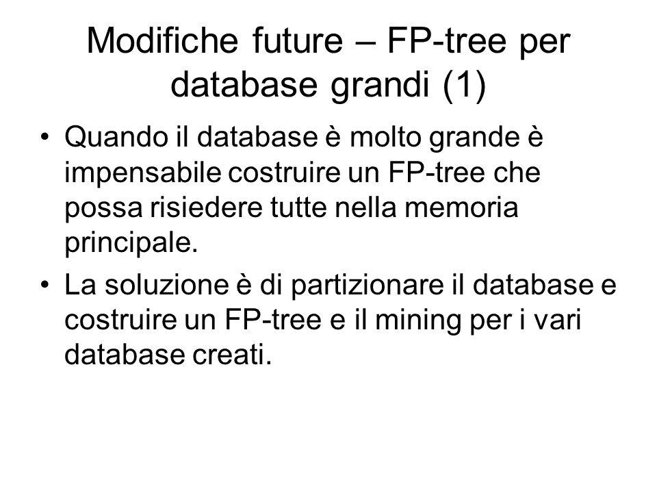 Modifiche future – FP-tree per database grandi (1) Quando il database è molto grande è impensabile costruire un FP-tree che possa risiedere tutte nella memoria principale.