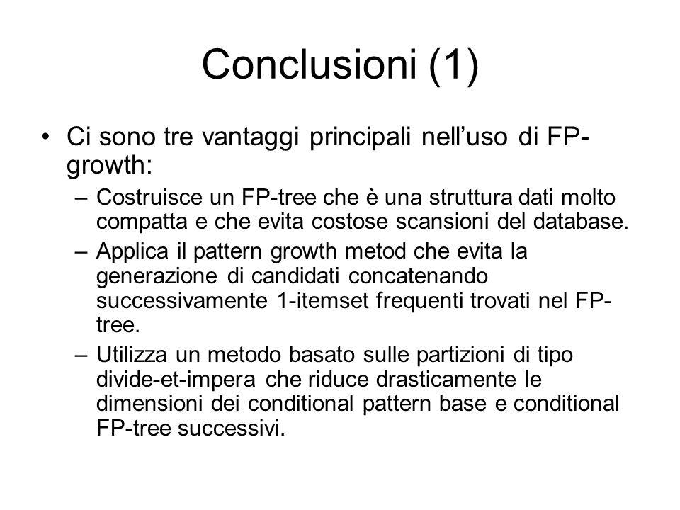 Conclusioni (1) Ci sono tre vantaggi principali nelluso di FP- growth: –Costruisce un FP-tree che è una struttura dati molto compatta e che evita costose scansioni del database.