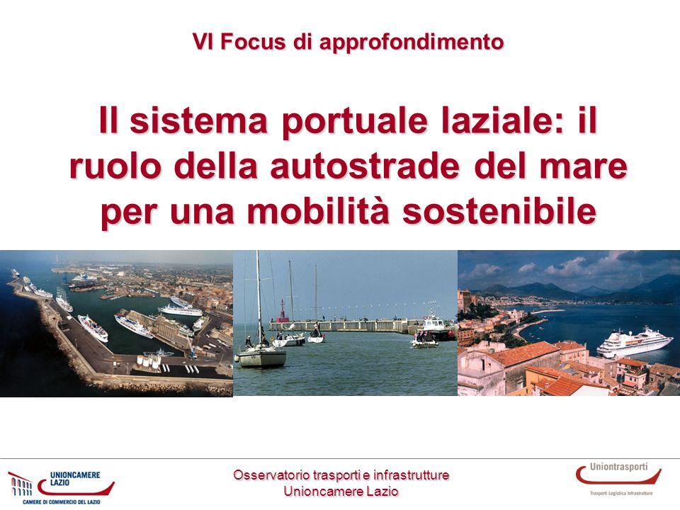 Il sistema portuale laziale: il ruolo della autostrade del mare per una mobilità sostenibile Osservatorio trasporti e infrastrutture Unioncamere Lazio