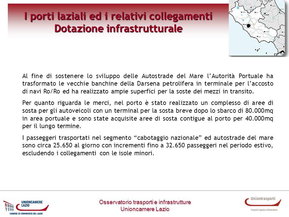 I porti laziali ed i relativi collegamenti Dotazione infrastrutturale Osservatorio trasporti e infrastrutture Unioncamere Lazio Al fine di sostenere l