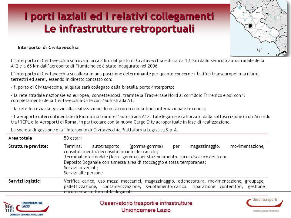 I porti laziali ed i relativi collegamenti Le infrastrutture retroportuali Osservatorio trasporti e infrastrutture Unioncamere Lazio Interporto di Civ