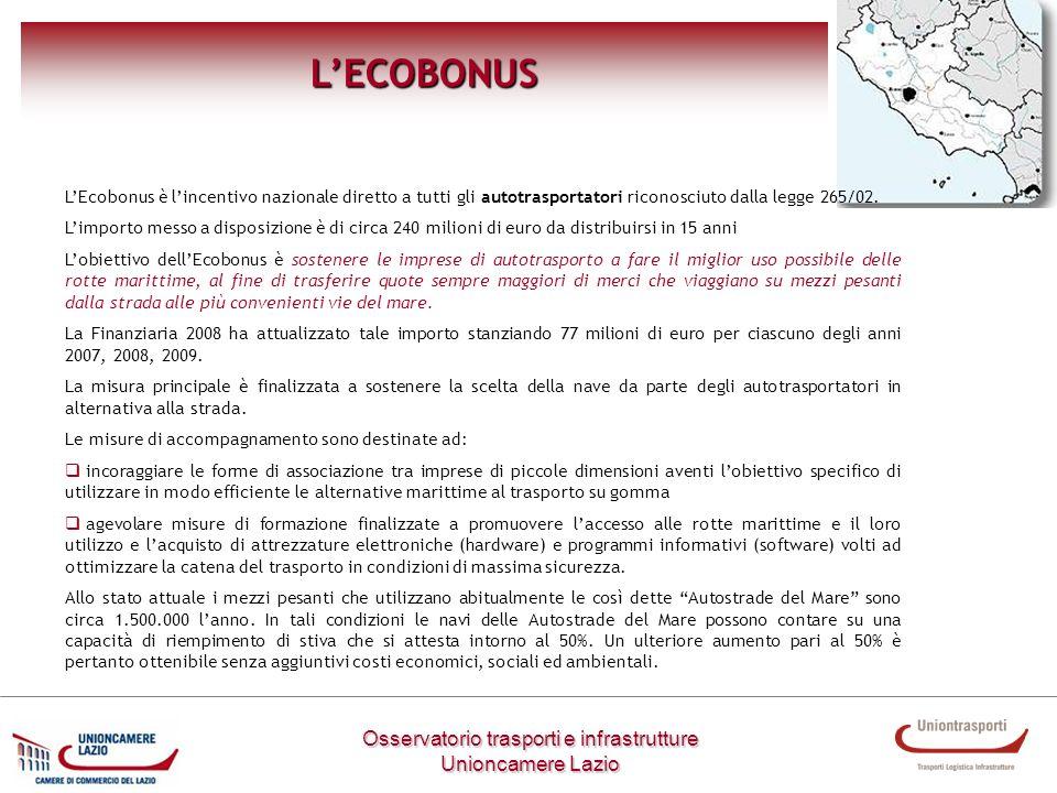 LECOBONUS LEcobonus è lincentivo nazionale diretto a tutti gli autotrasportatori riconosciuto dalla legge 265/02. Limporto messo a disposizione è di c
