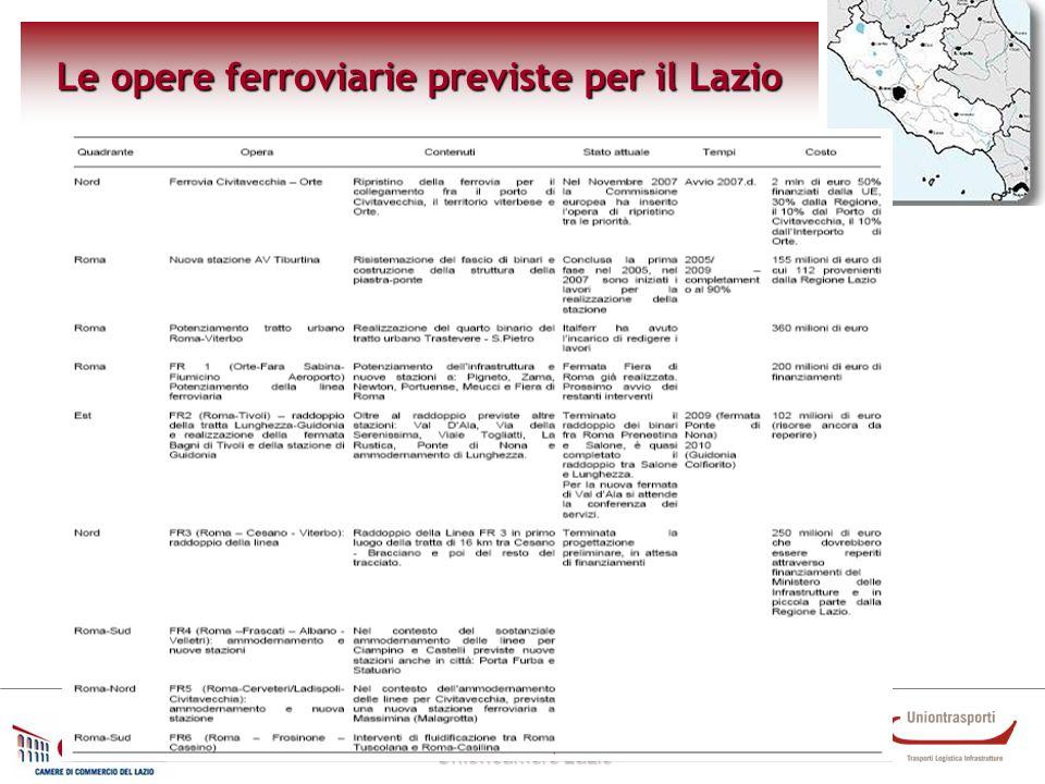 Osservatorio trasporti e ambiente Unioncamere Lazio Le opere ferroviarie previste per il Lazio