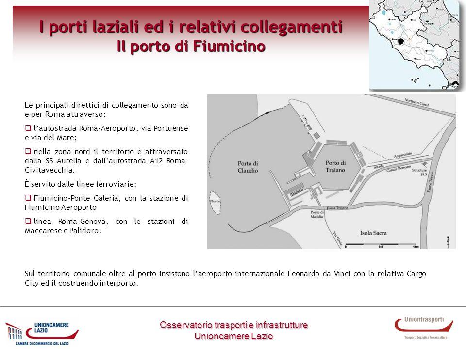 Osservatorio trasporti e infrastrutture Unioncamere Lazio I porti laziali ed i relativi collegamenti Il porto di Fiumicino Le principali direttici di