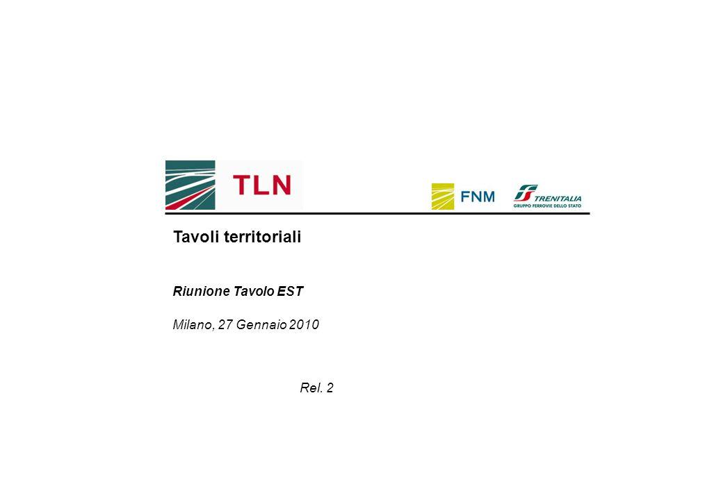 Milano, 27 Gennaio 2010 Riunione Tavolo EST Rel. 2 Tavoli territoriali