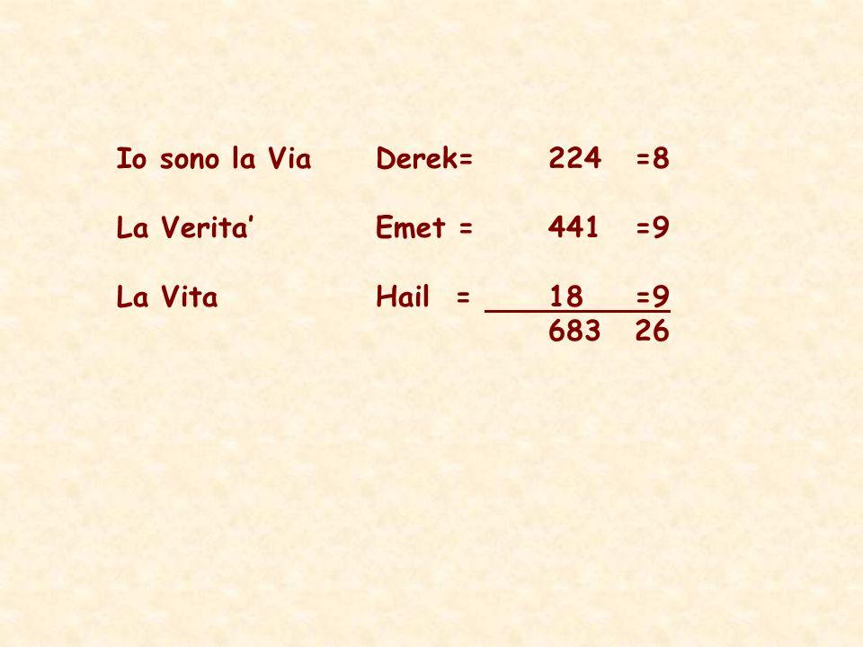 Io sono la Via Derek=224=8 La VeritaEmet =441=9 La VitaHail = 18=9 683 26
