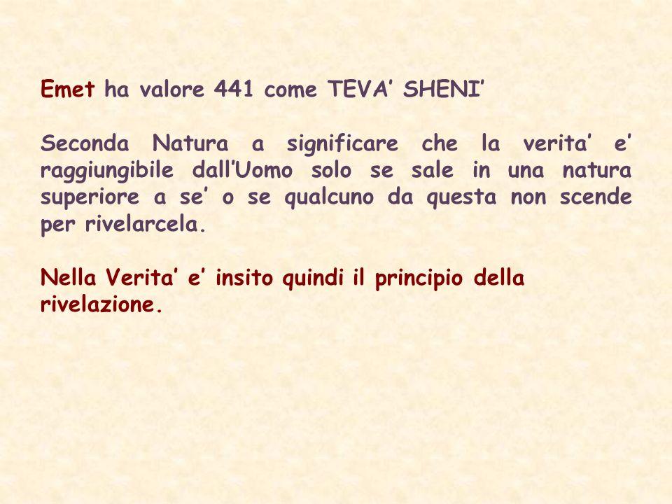 Emet ha valore 441 come TEVA SHENI Seconda Natura a significare che la verita e raggiungibile dallUomo solo se sale in una natura superiore a se o se qualcuno da questa non scende per rivelarcela.