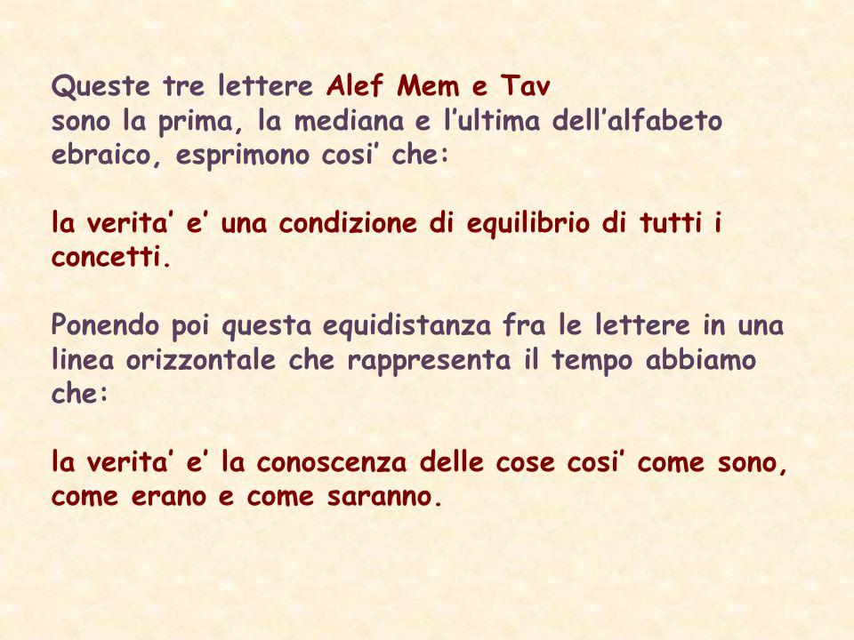 Queste tre lettere Alef Mem e Tav sono la prima, la mediana e lultima dellalfabeto ebraico, esprimono cosi che: la verita e una condizione di equilibrio di tutti i concetti.