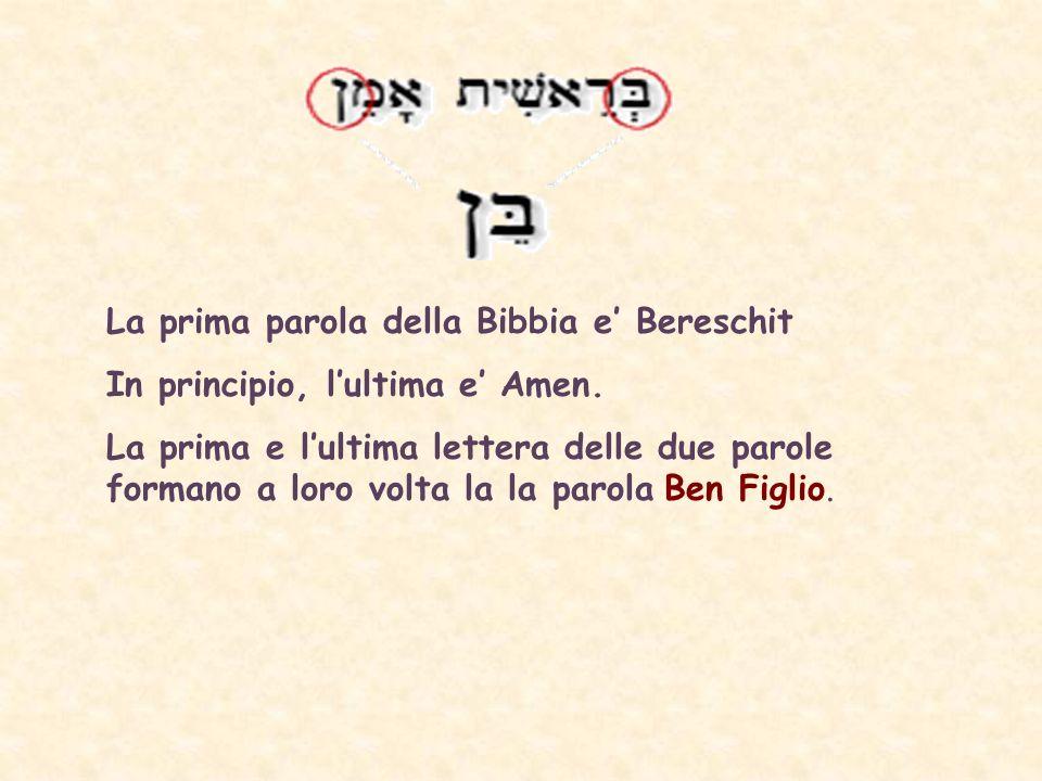 La prima parola della Bibbia e Bereschit In principio, lultima e Amen.