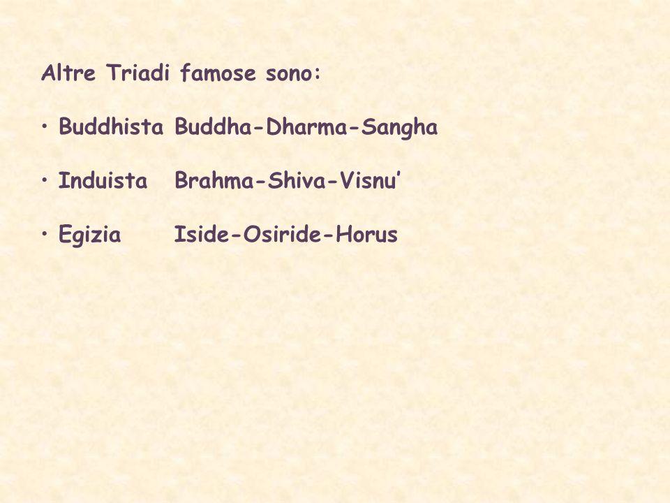 Altre Triadi famose sono: Buddhista Buddha-Dharma-Sangha InduistaBrahma-Shiva-Visnu EgiziaIside-Osiride-Horus