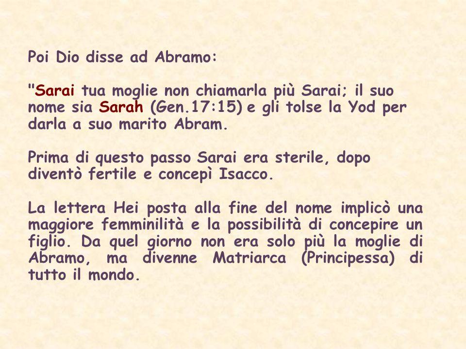 Poi Dio disse ad Abramo: Sarai tua moglie non chiamarla più Sarai; il suo nome sia Sarah (Gen.17:15) e gli tolse la Yod per darla a suo marito Abram.