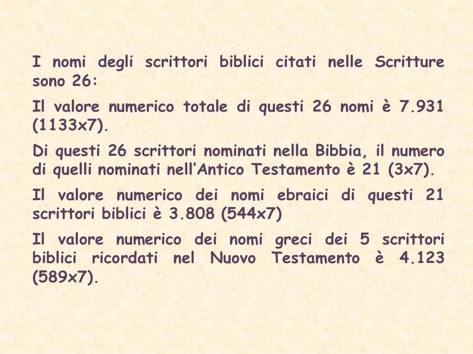 I nomi degli scrittori biblici citati nelle Scritture sono 26: Il valore numerico totale di questi 26 nomi è 7.931 (1133x7).