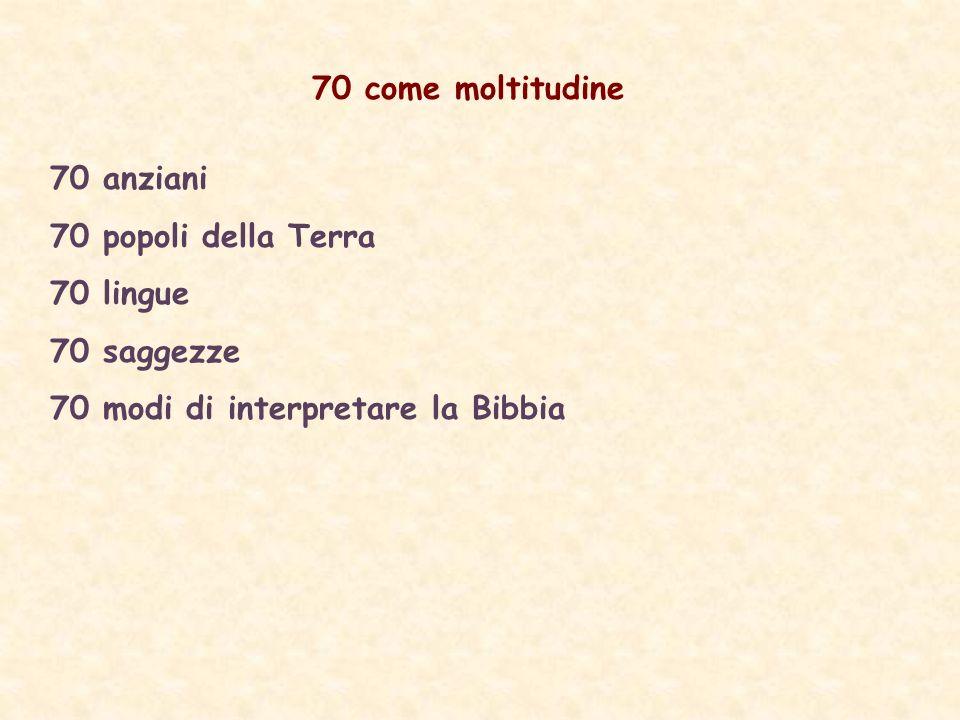 70 come moltitudine 70 anziani 70 popoli della Terra 70 lingue 70 saggezze 70 modi di interpretare la Bibbia
