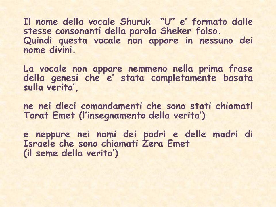 Il nome della vocale Shuruk U e formato dalle stesse consonanti della parola Sheker falso.