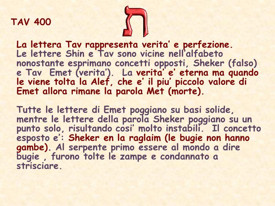 TAV 400 La lettera Tav rappresenta verita e perfezione.