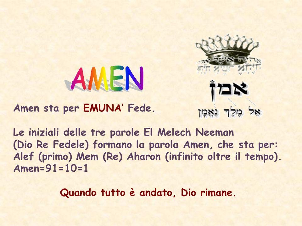 Amen sta per EMUNA Fede.
