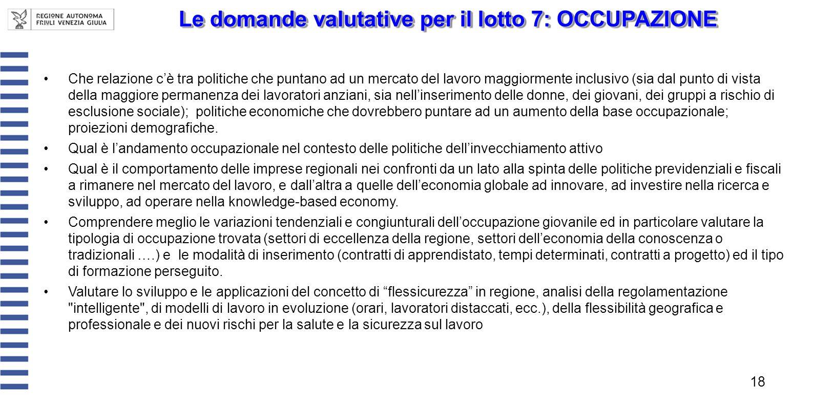 Le domande valutative per il lotto 7: OCCUPAZIONE 18 Che relazione cè tra politiche che puntano ad un mercato del lavoro maggiormente inclusivo (sia d