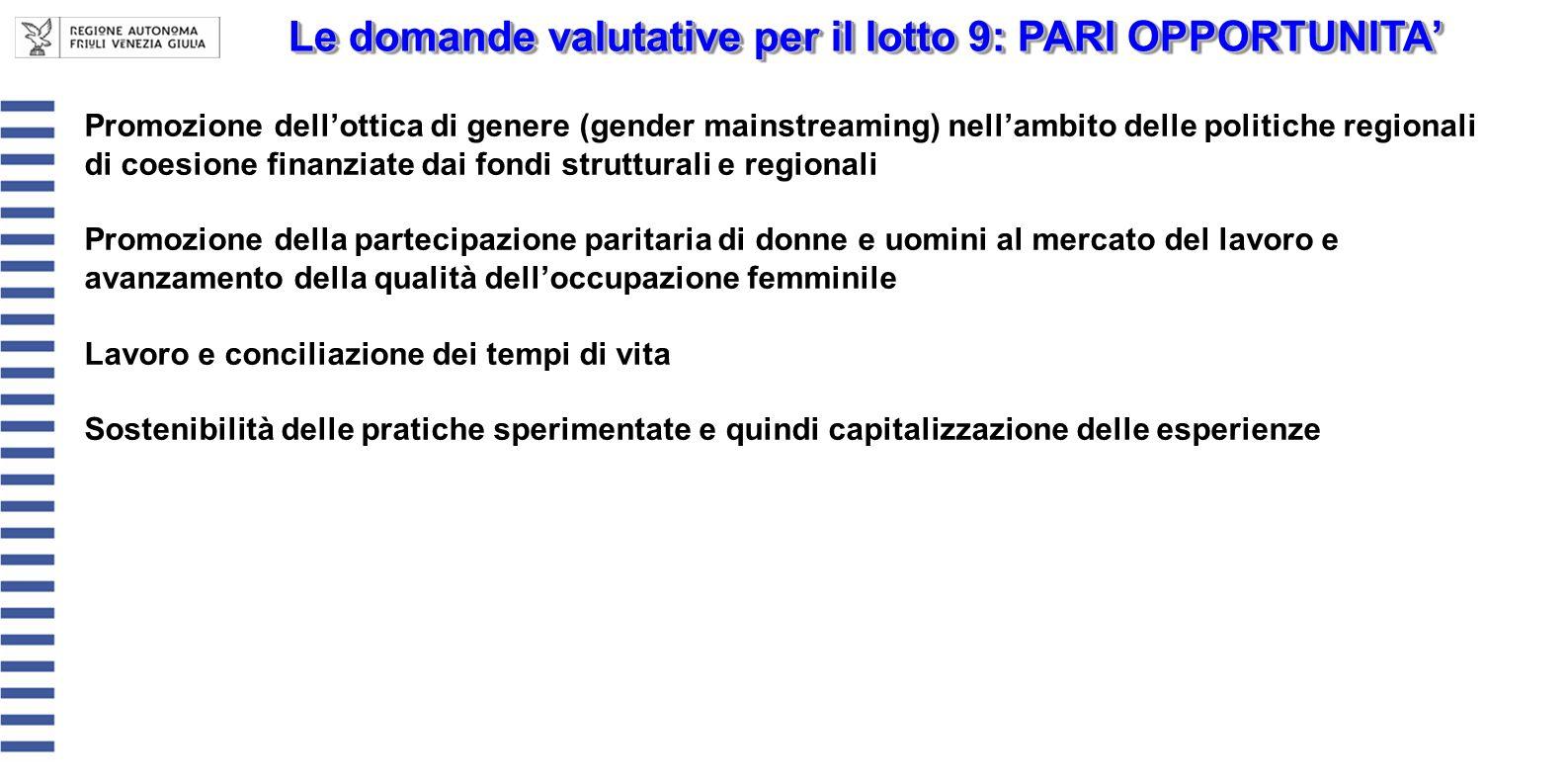Le domande valutative per il lotto 9: PARI OPPORTUNITA Promozione dellottica di genere (gender mainstreaming) nellambito delle politiche regionali di