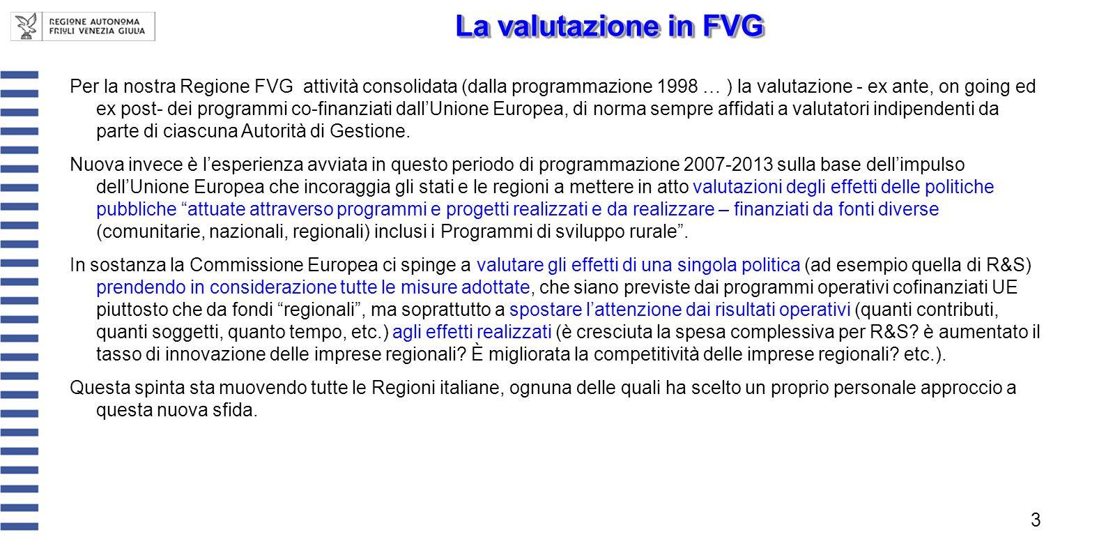 Per la nostra Regione FVG attività consolidata (dalla programmazione 1998 … ) la valutazione - ex ante, on going ed ex post- dei programmi co-finanzia