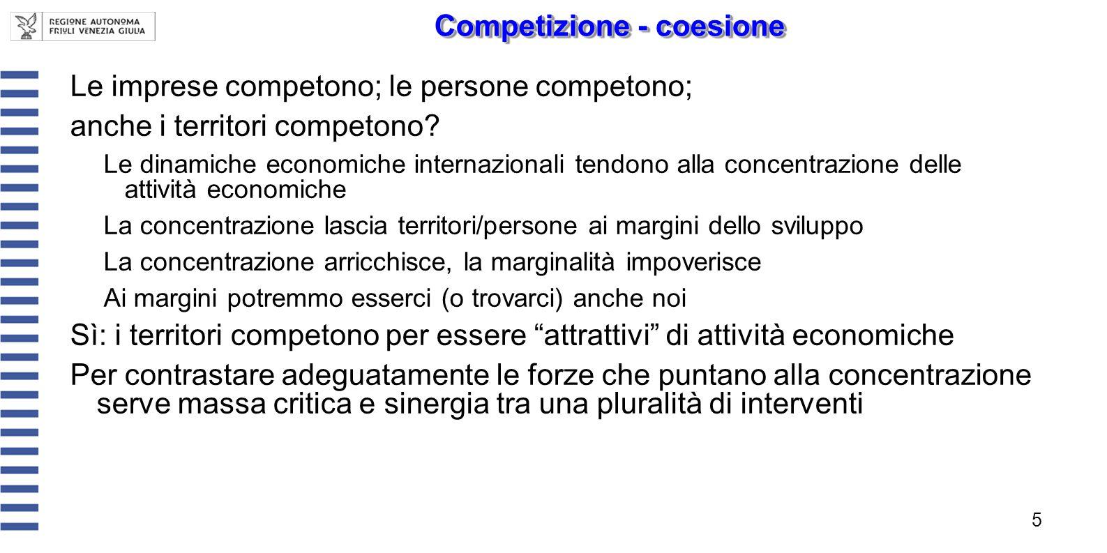 Le imprese competono; le persone competono; anche i territori competono? Le dinamiche economiche internazionali tendono alla concentrazione delle atti