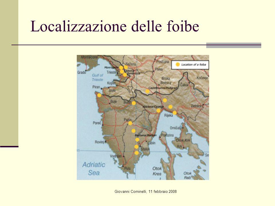 Giovanni Cominelli, 11 febbraio 2008 Localizzazione delle foibe
