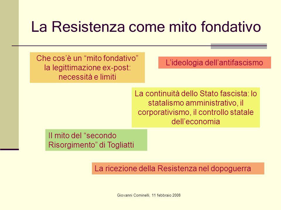 Giovanni Cominelli, 11 febbraio 2008 La Resistenza come mito fondativo Che cosè un mito fondativo la legittimazione ex-post: necessità e limiti Lideol