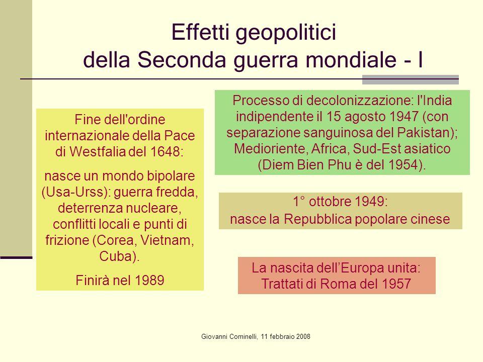 Giovanni Cominelli, 11 febbraio 2008 Effetti geopolitici della Seconda guerra mondiale - I Fine dell'ordine internazionale della Pace di Westfalia del