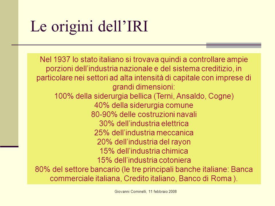 Giovanni Cominelli, 11 febbraio 2008 Le origini dellIRI Nel 1937 lo stato italiano si trovava quindi a controllare ampie porzioni dellindustria nazion