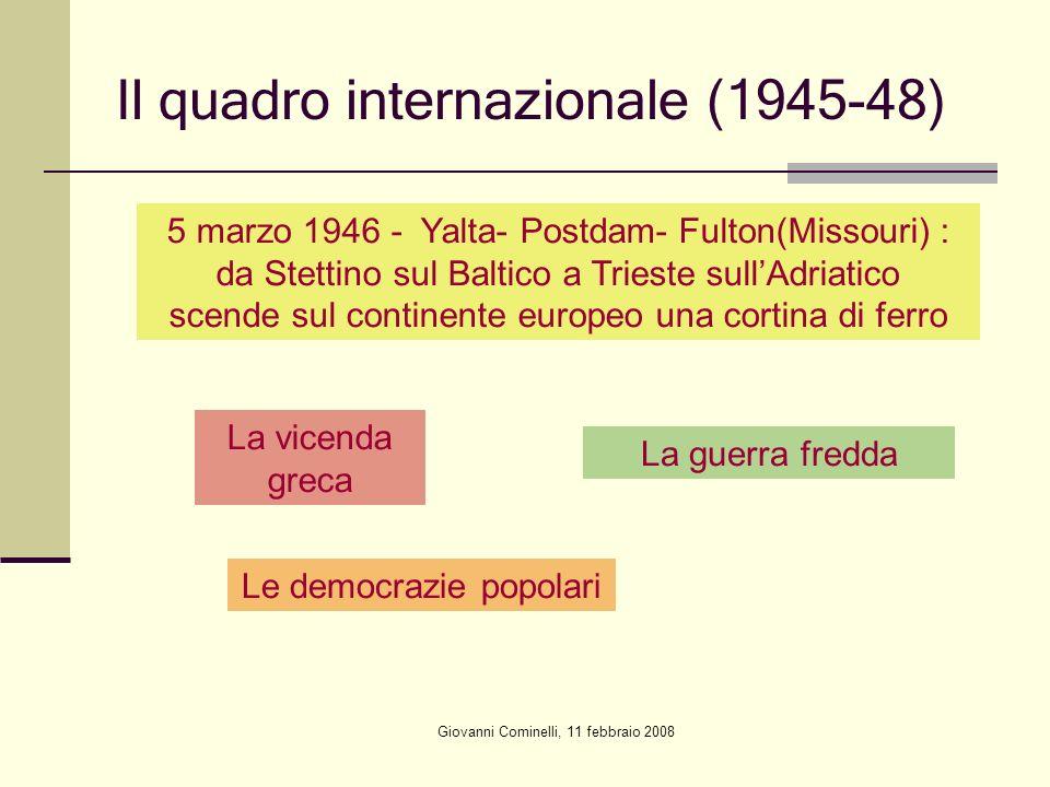 Giovanni Cominelli, 11 febbraio 2008 Il quadro internazionale (1945-48) 5 marzo 1946 - Yalta- Postdam- Fulton(Missouri) : da Stettino sul Baltico a Tr