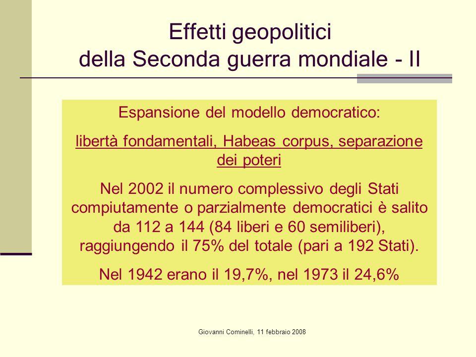 Giovanni Cominelli, 11 febbraio 2008 Effetti geopolitici della Seconda guerra mondiale - II Espansione del modello democratico: libertà fondamentali,