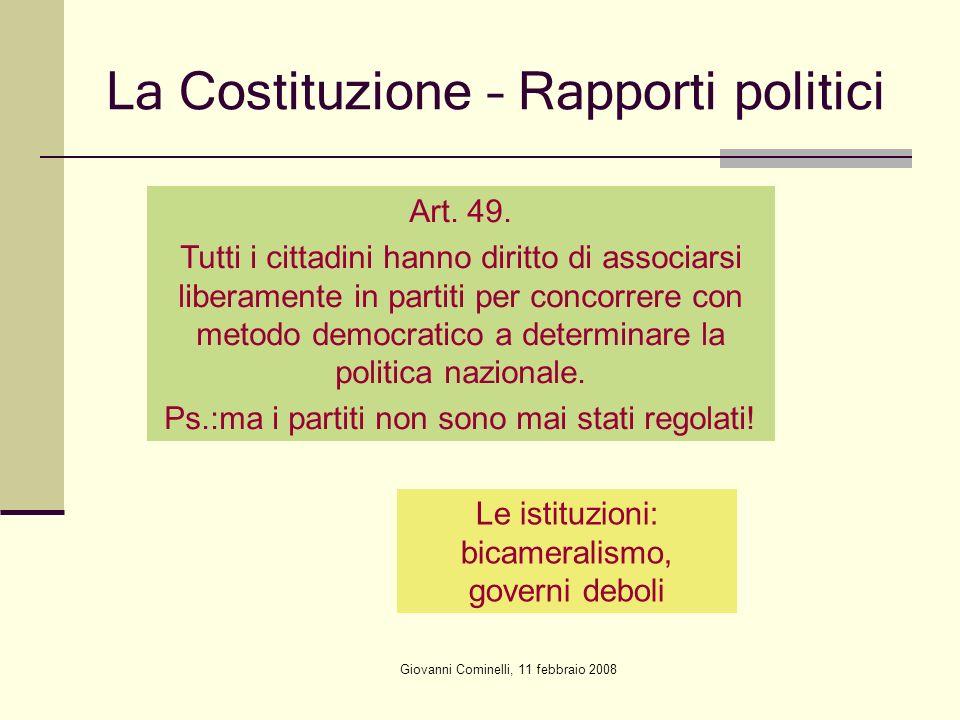 Giovanni Cominelli, 11 febbraio 2008 La Costituzione – Rapporti politici Art. 49. Tutti i cittadini hanno diritto di associarsi liberamente in partiti