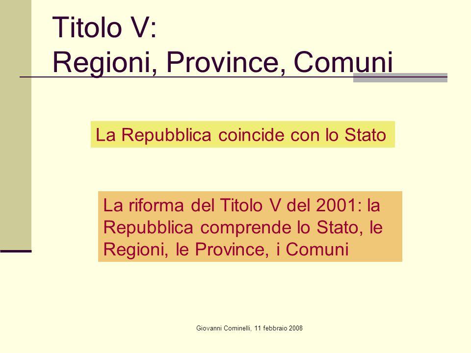 Giovanni Cominelli, 11 febbraio 2008 Titolo V: Regioni, Province, Comuni La Repubblica coincide con lo Stato La riforma del Titolo V del 2001: la Repu