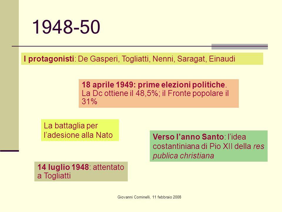 Giovanni Cominelli, 11 febbraio 2008 1948-50 I protagonisti: De Gasperi, Togliatti, Nenni, Saragat, Einaudi 18 aprile 1949: prime elezioni politiche.