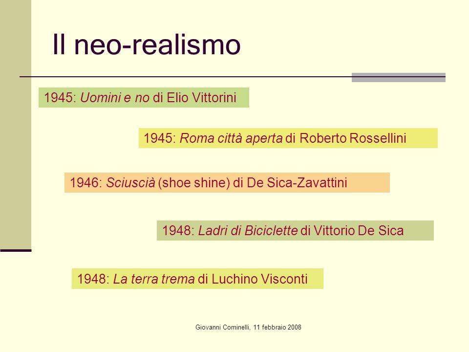 Giovanni Cominelli, 11 febbraio 2008 Il neo-realismo 1945: Uomini e no di Elio Vittorini 1945: Roma città aperta di Roberto Rossellini 1946: Sciuscià