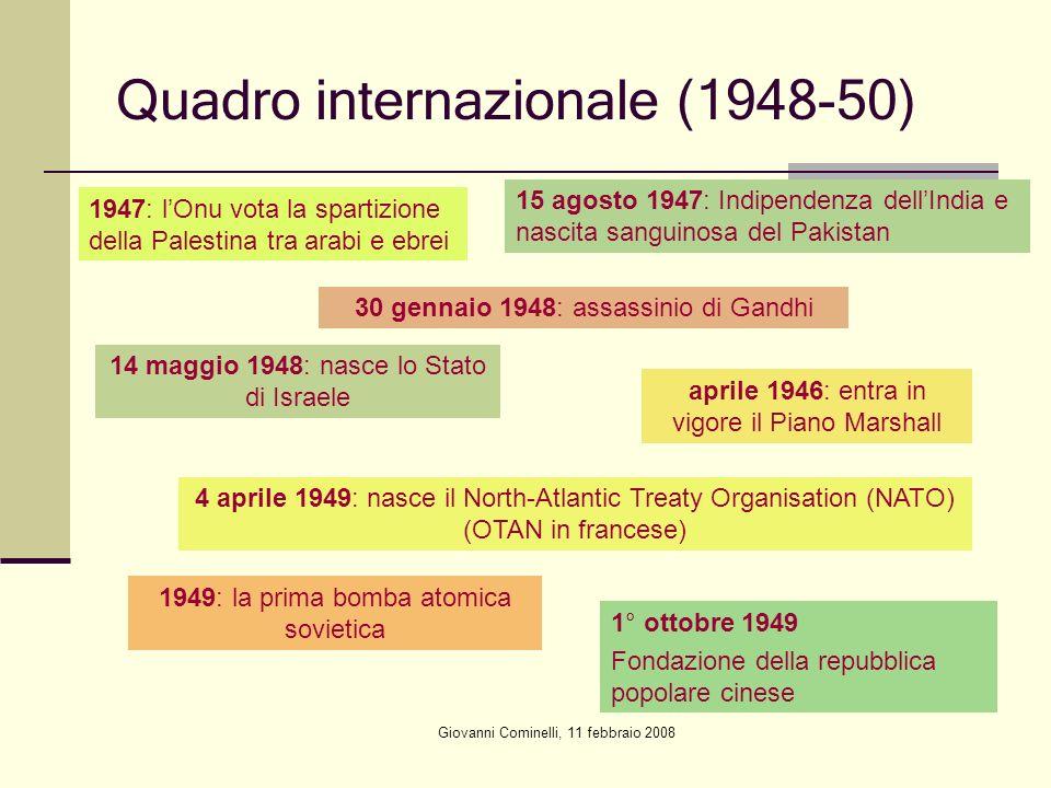 Quadro internazionale (1948-50) 1947: lOnu vota la spartizione della Palestina tra arabi e ebrei 15 agosto 1947: Indipendenza dellIndia e nascita sang
