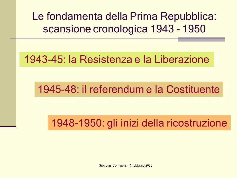 Giovanni Cominelli, 11 febbraio 2008 Le fondamenta della Prima Repubblica: scansione cronologica 1943 - 1950 1943-45: la Resistenza e la Liberazione 1