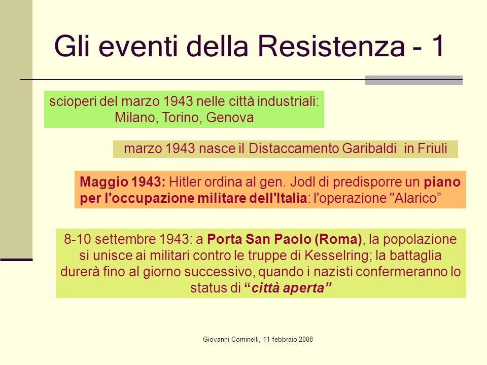 Giovanni Cominelli, 11 febbraio 2008 Gli eventi della Resistenza - 1 scioperi del marzo 1943 nelle città industriali: Milano, Torino, Genova marzo 194