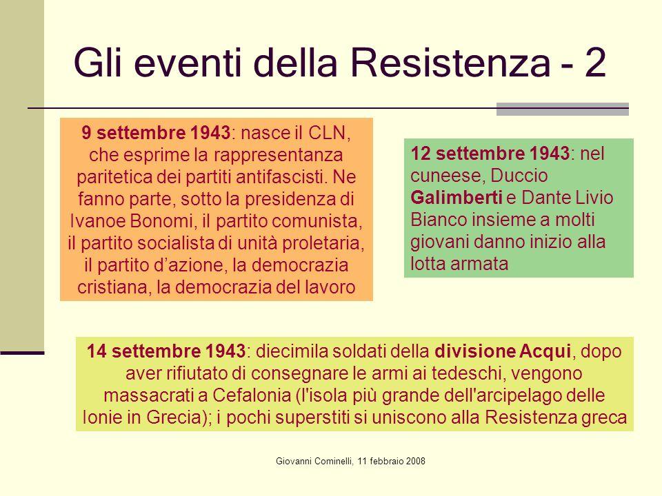 Giovanni Cominelli, 11 febbraio 2008 Gli eventi della Resistenza - 2 9 settembre 1943: nasce il CLN, che esprime la rappresentanza paritetica dei part