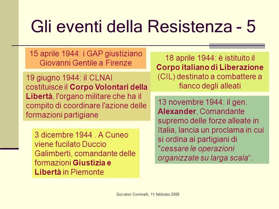 Giovanni Cominelli, 11 febbraio 2008 Gli eventi della Resistenza - 5 15 aprile 1944: i GAP giustiziano Giovanni Gentile a Firenze 18 aprile 1944: è is