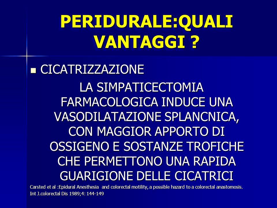 PERIDURALE:QUALI VANTAGGI ? CICATRIZZAZIONE CICATRIZZAZIONE LA SIMPATICECTOMIA FARMACOLOGICA INDUCE UNA VASODILATAZIONE SPLANCNICA, CON MAGGIOR APPORT