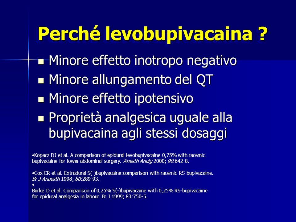 Perché levobupivacaina ? Minore effetto inotropo negativo Minore effetto inotropo negativo Minore allungamento del QT Minore allungamento del QT Minor